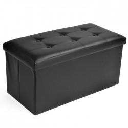 Sitzbank Sitztruhe 76x38x38 cm - Schwarz Faltbar