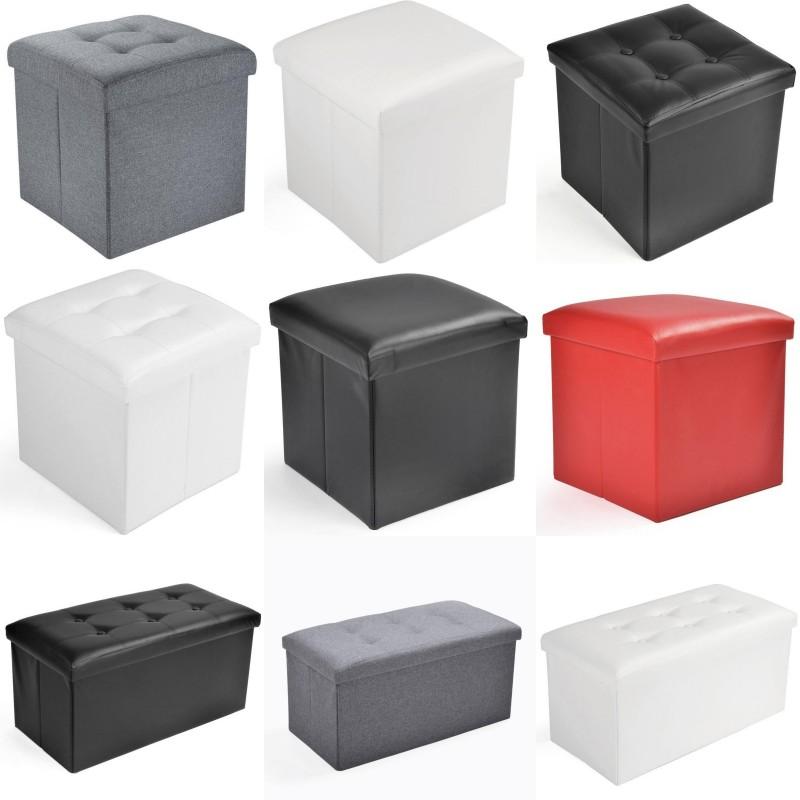 Tabouret De Siège Cube Banc Coffre Rangement Ottoman Coffre Pliable